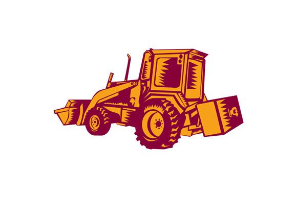 Mechanical Digger Excavator Woodcut