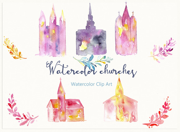 Churches. Watercolor Clip Art. - Illustrations