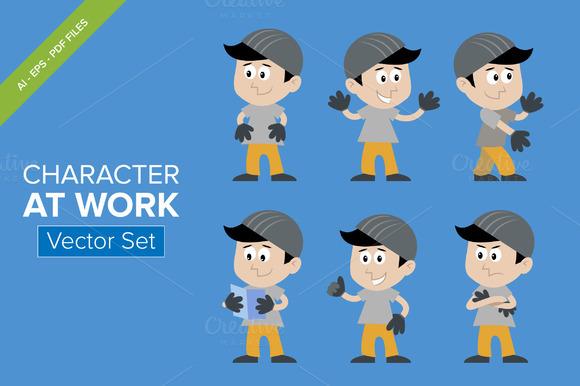 CHARACTER AT WORK Vector Set
