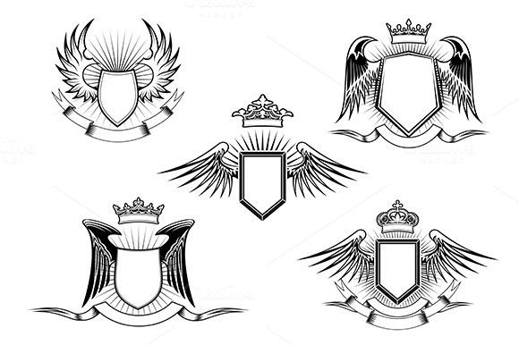 Set Of Heraldic Winged Shields