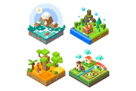 Isometric Tile Land Set