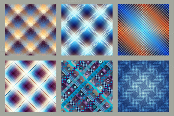 Set Of Diagonal Plaid Patterns