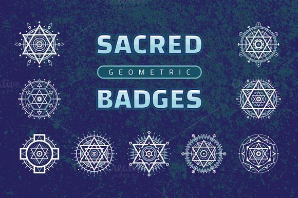 Sacred Geometric Badges Vector Set