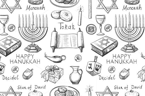 Seamless Pattern With Hanukkah