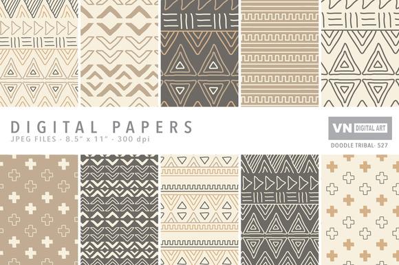 Digital Papers Doodle Tribal 527