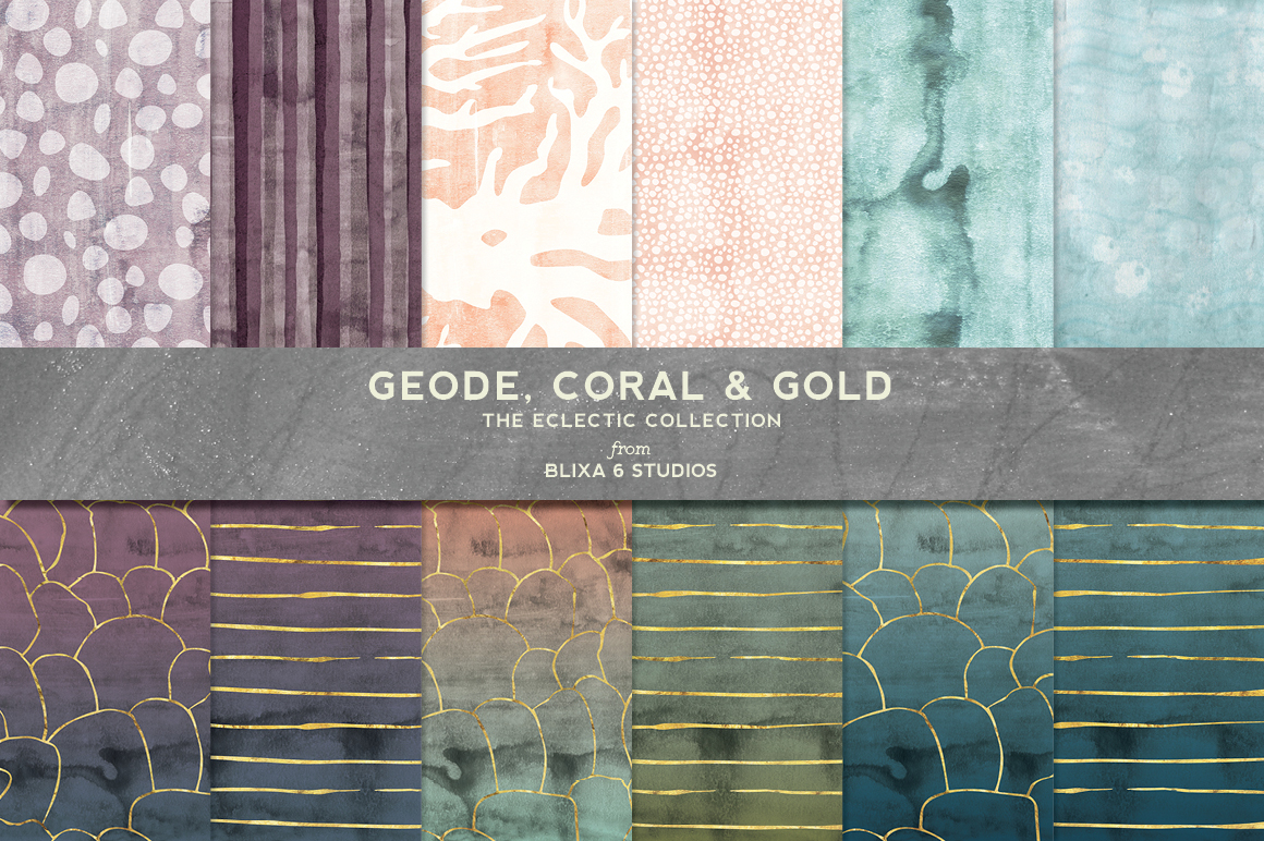 Geode Coral Amp Gold Watercolors Patterns On Creative Market