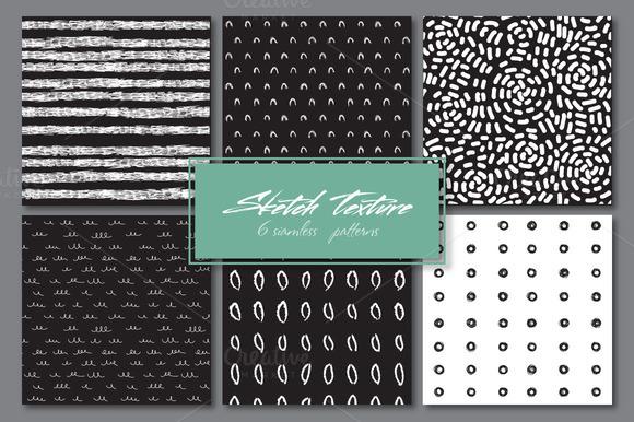 Sketch texture. 6 seamles patterns - Patterns