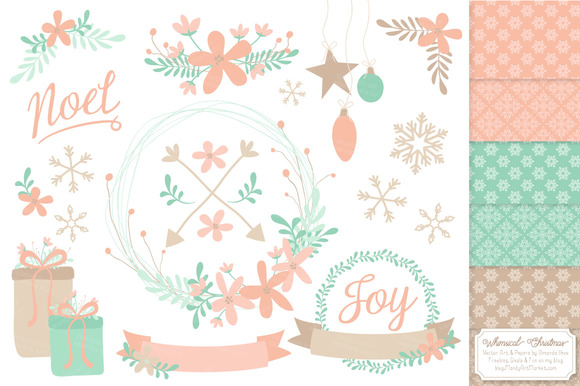 Mint Peach Wreath Vectors Papers