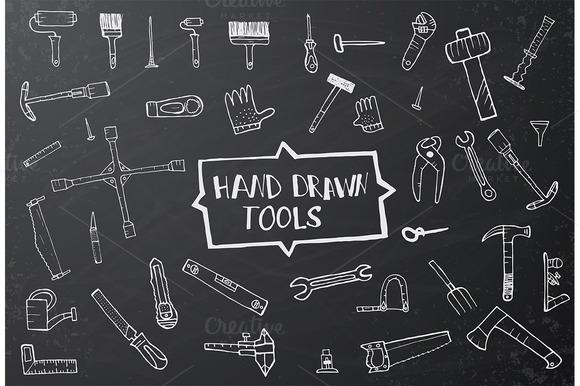 Hand Drawn Tool Icons Set On Black