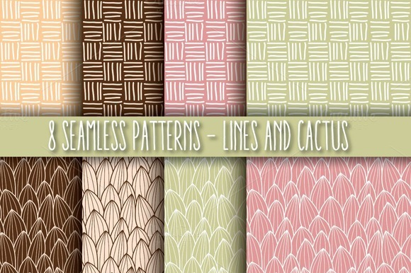 8 Seamless Patterns Lines Cactus
