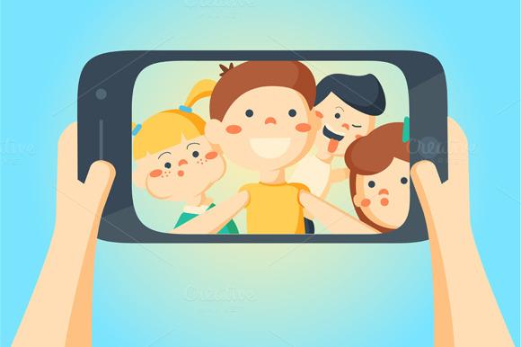 People Taking Selfie. Friends photo - Graphics