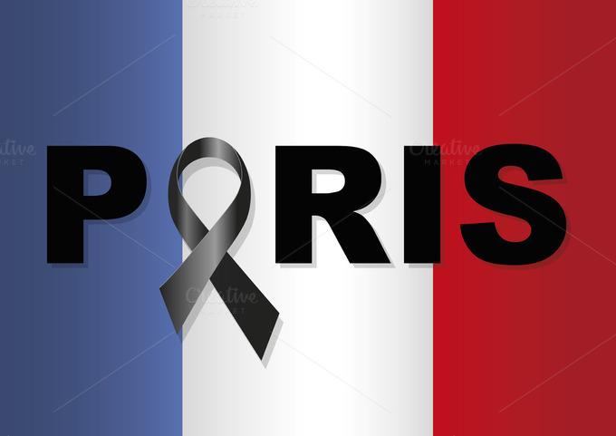 France Flag Paris Black Ribbon