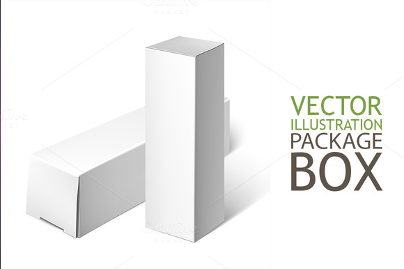 Set Of White Package Box. Mockup - Objects