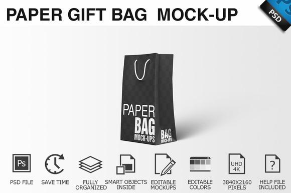 Paper Gift Shopping Bag Mockup 1