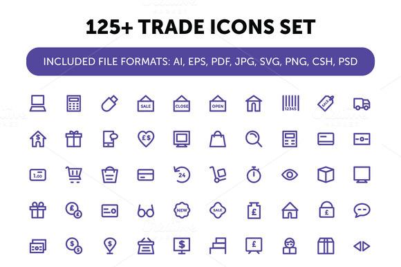 125 Trade Icons Set