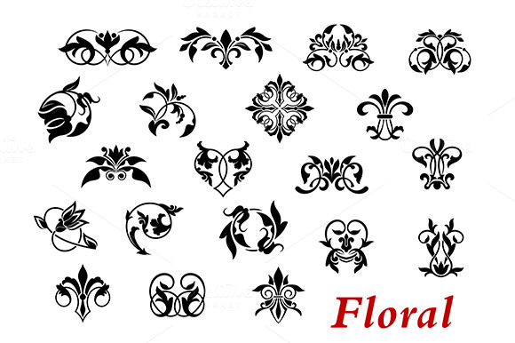 Floral Ornamental Elelments And Vign