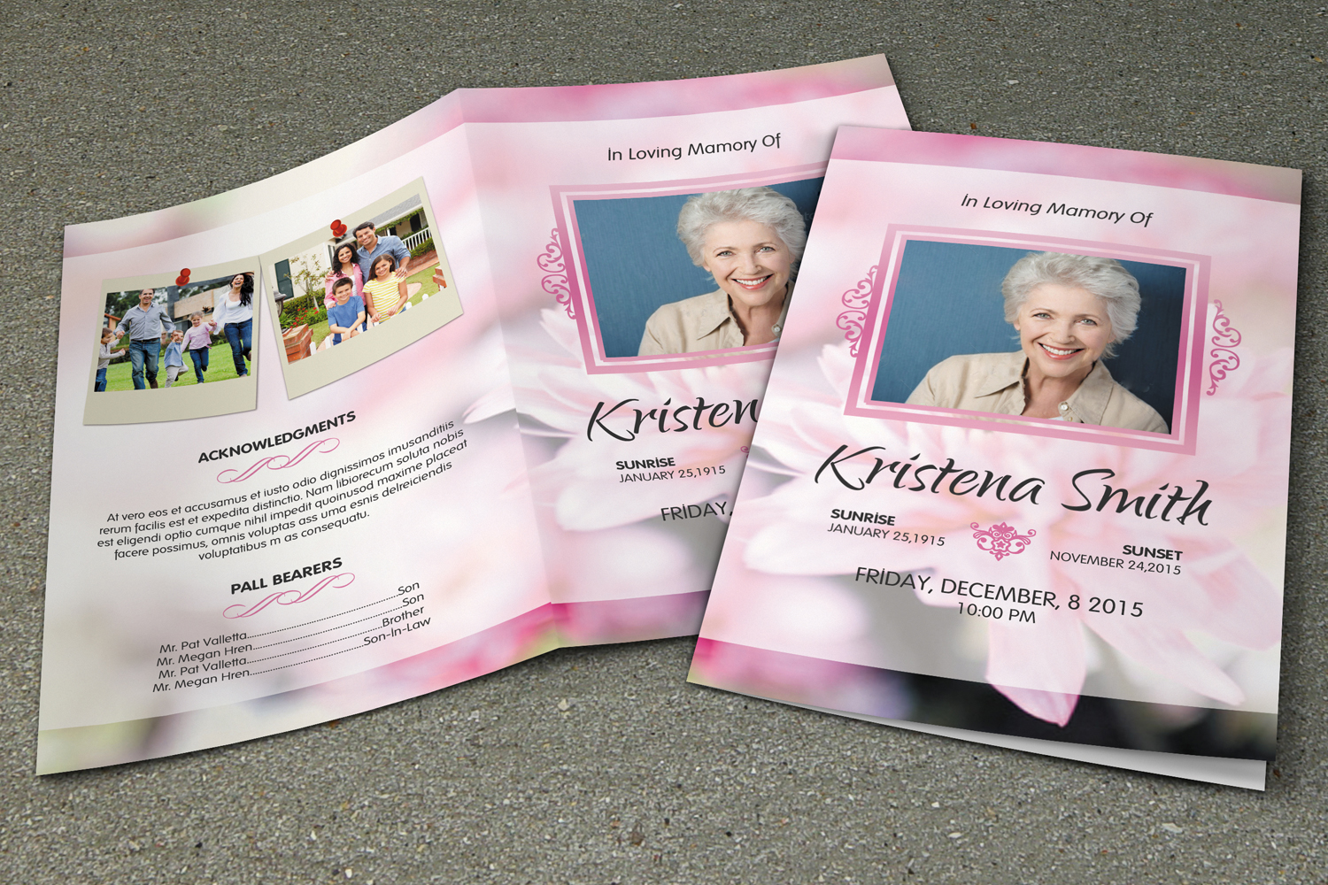 memorial pamphlets free templates - funeral program template v261 brochure templates on creative market