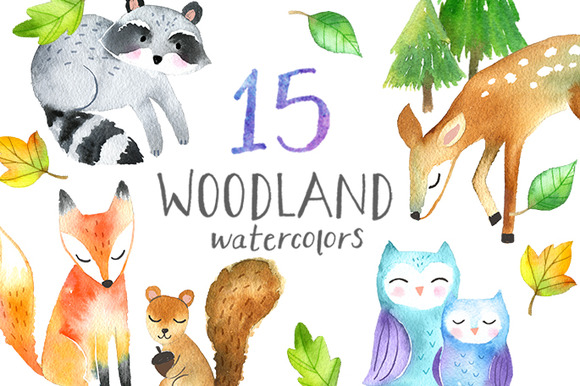Sweet Woodland Watercolors Pack