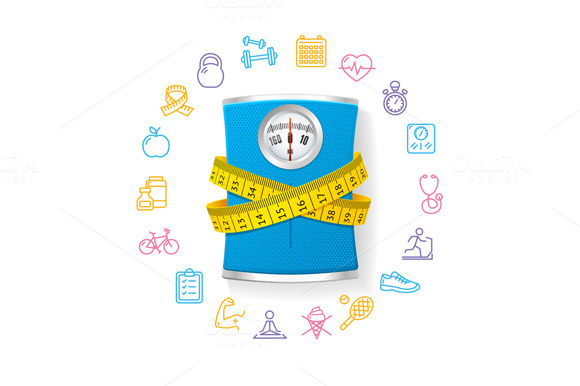 Bathroom Scale. Fitness Concept. - Illustrations
