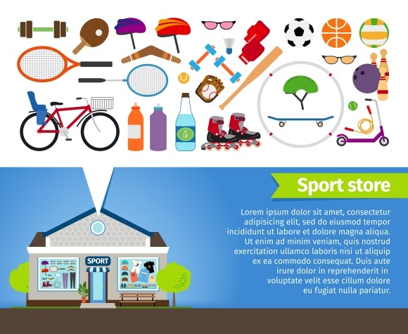 Sport store. Sports equipment - Graphics