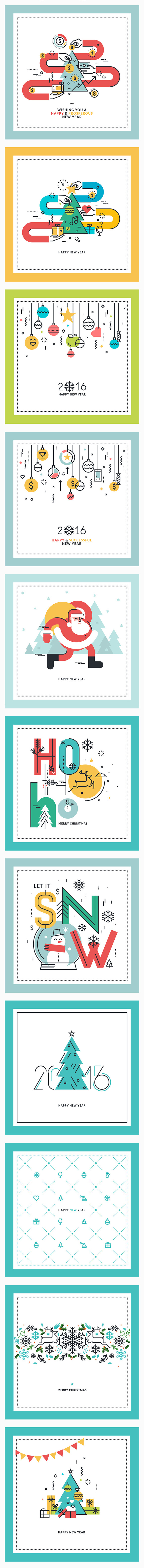 Flat Line Christmas Greeting Cards