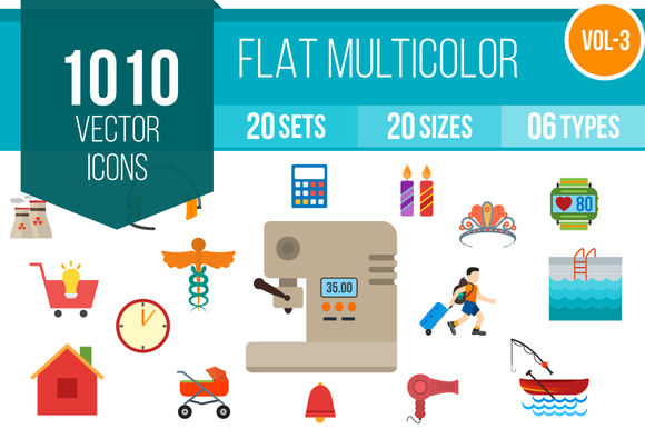 1010 Flat Multicolor Icons