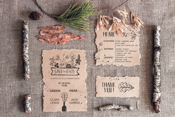 Mockup. Kraft paper on sackcloth. - Product Mockups