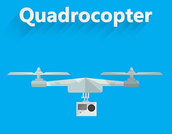 Quadrocopter Flat Vector Illustratio