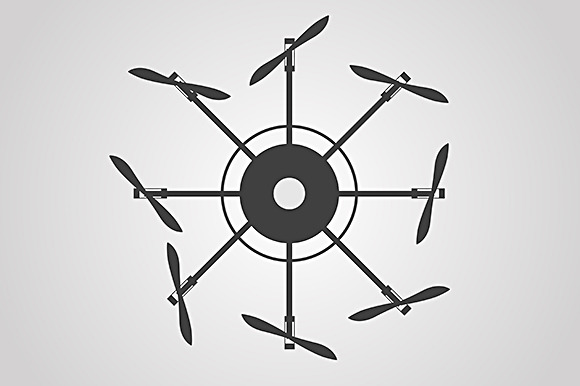Multicopter Black Vector Icon