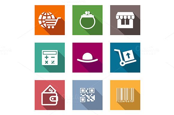Shopping Business Flat Icons Set