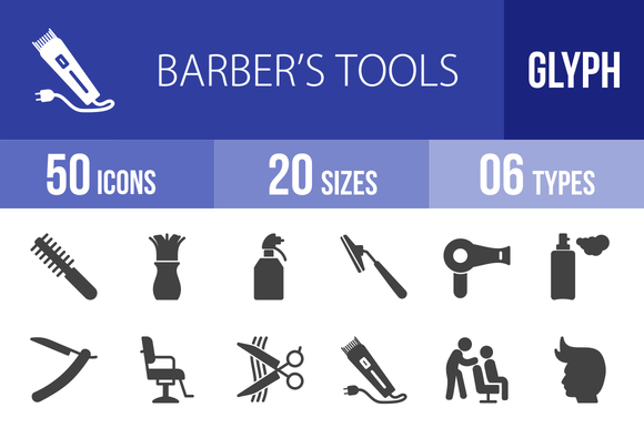 50 BarberЎЇs Tools Glyph Icons
