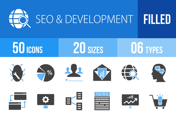 50 SEO Development Blue Black Icons