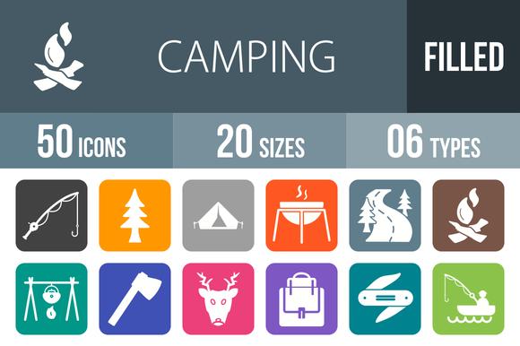 50 Camping Flat Round Corner Icons