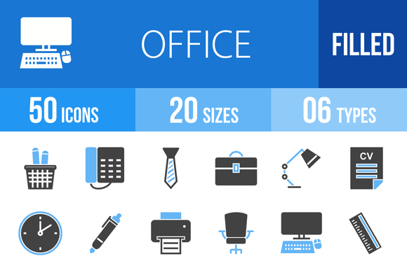 50 Office Blue Black Icons