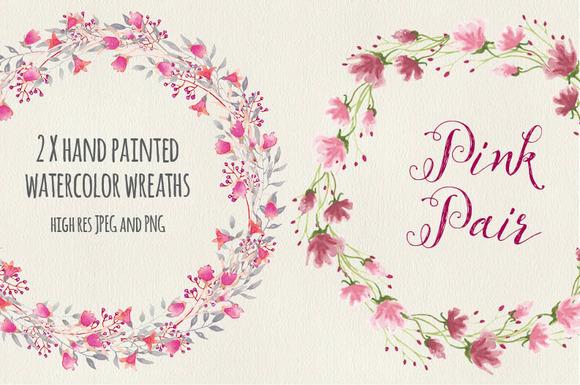 Watercolor Wreaths Pink Pair