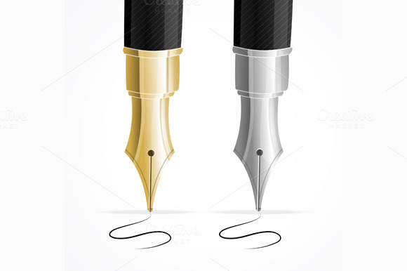 Close Up of a Fountain Pens. Vector - Illustrations