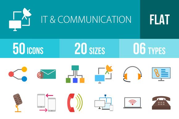 50 IT Communication Flat Multicolor