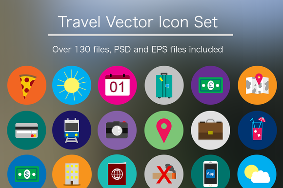 Flat Travel Icon Pack PSD Vector