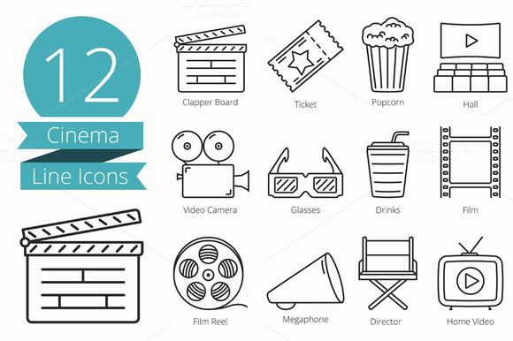 12 Cinema Line Icons