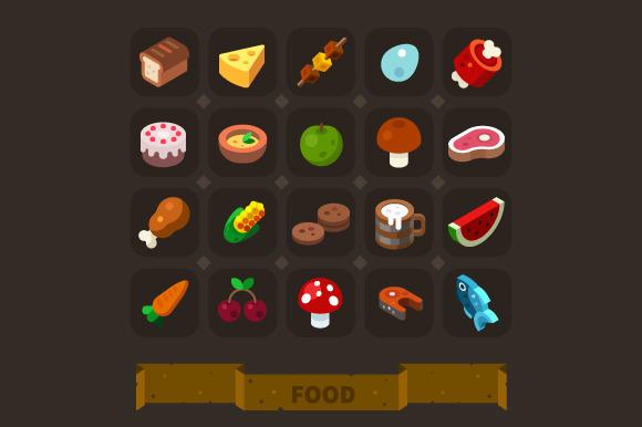 Fantasy Game Icons Set Food