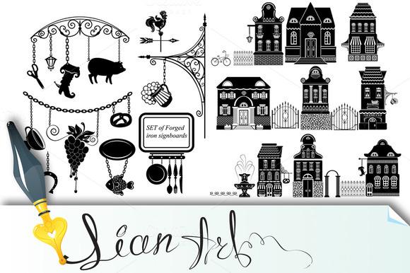 Set Of Cartoons Fairy Tale Houses