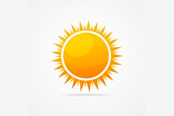 Glossy Sun Icon Set Vector