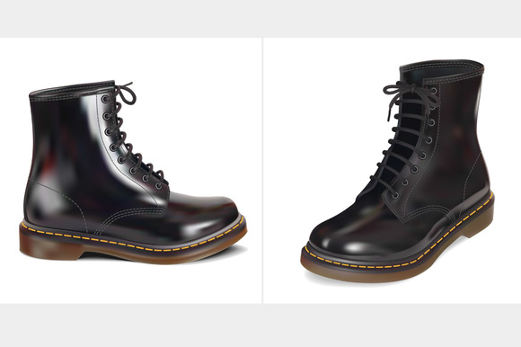 black leather boot. Vector ollustrat - Objects