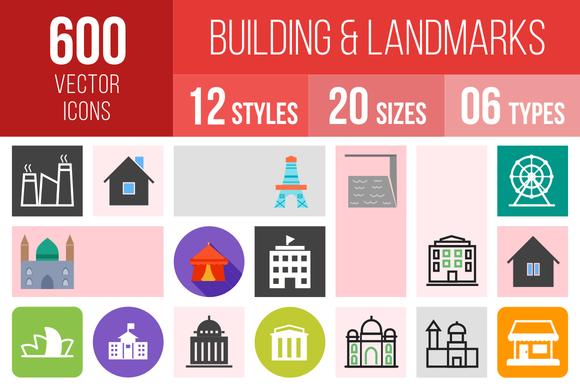 600 Buildings Landmarks Icons