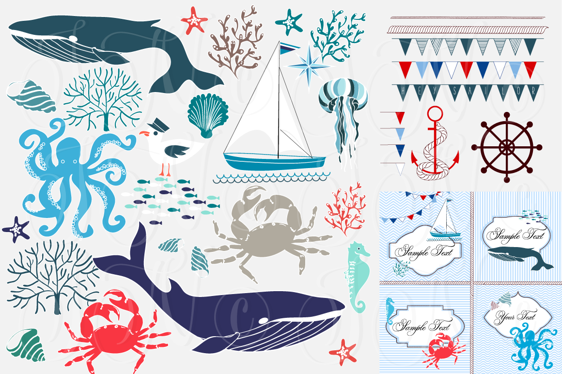 Nautical Sea clip art collection ~ Illustrations on ...