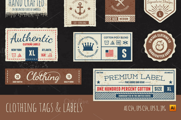 clothing tag labels objects on creative market