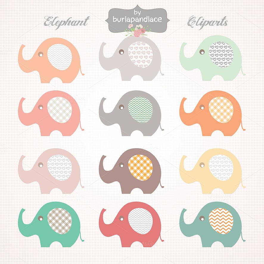 Baby Elephant Clipart Illustrations On Creative Market