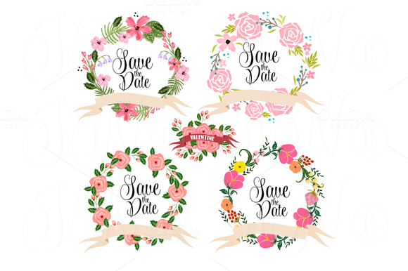 14 Wedding Floral Clipart Elements Illustrations On