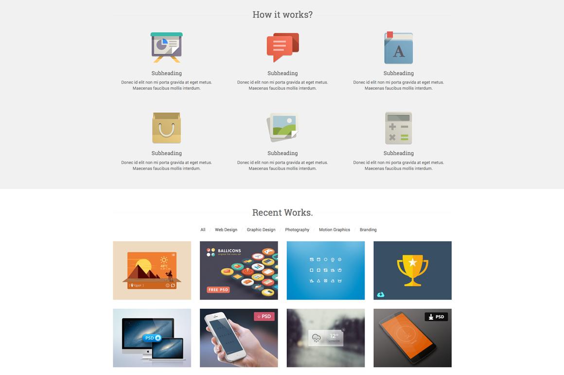 start responsive one page template website templates on creative market. Black Bedroom Furniture Sets. Home Design Ideas