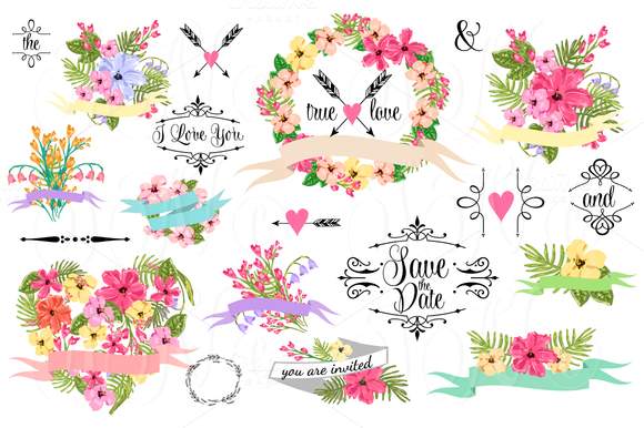 36 Wedding Floral clipart ~ Illustrations on Creative Market